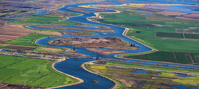 Aerial view of the Sacramento-San Joaquin River Delta